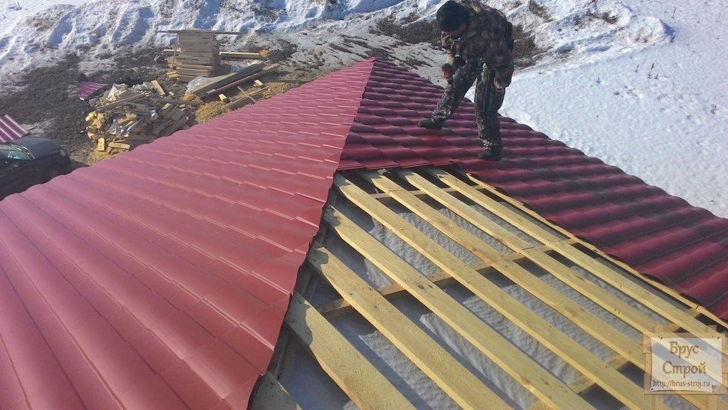 Металлочерепица своими руками вальмовая крыша 55