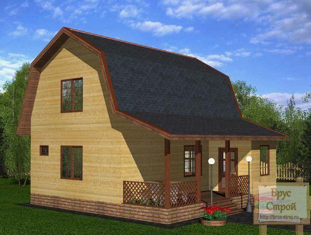 Проект дома из бруса с ломаной крышей дома на irixpix.
